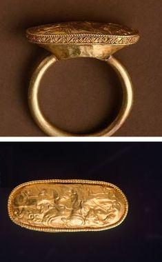 Gold ring, from Cerveteri (Lazio). Etruscan civilization, 6th Century BC.