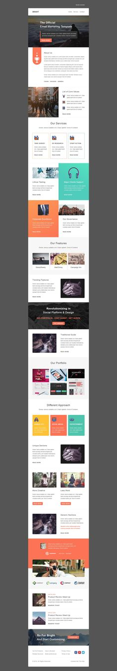 Bright is a multipurpose responsive email template suitable for any kind of corporate, office, business, creative and general category.All templates are StampReady, MailChimp & Campaign Monitor compatible