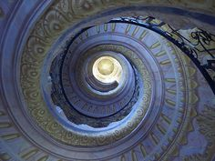 Staircase, blue, swirl, stairs, stairway, beauty,
