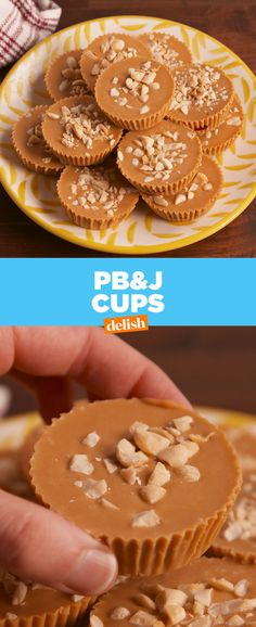 PB&J cups are the healthiest dessert you never knew you needed. Get the recipe a… - Healthy Dessert Köstliche Desserts, Healthy Desserts, Delicious Desserts, Dessert Recipes, Yummy Food, Recipes Dinner, Yummy Treats, Sweet Treats, Food Porn