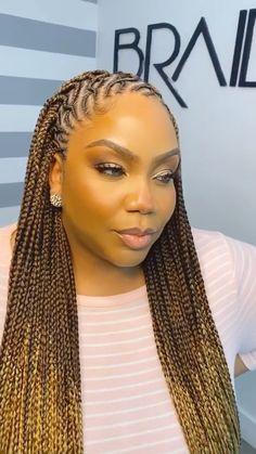 Braided Cornrow Hairstyles, Lemonade Braids Hairstyles, Box Braids Hairstyles For Black Women, Faux Locs Hairstyles, Dope Hairstyles, Braids For Black Hair, Black Hair Braid Hairstyles, Brown Box Braids, Box Braids Bun