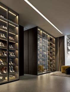 Contemporary shoe rack / glass - FITTED by Rodolfo Dordoni - Poliform