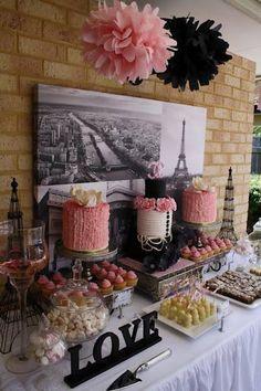 Paris Theme Bridal Shower Inspiration and Ideas - like the black & pink pompoms Thema Paris, Paris Bridal Shower, Paris Theme Baby Shower, Parisian Party, Parisian Wedding Theme, Bar A Bonbon, Paris Birthday Parties, Paris Chic, Paris Wedding