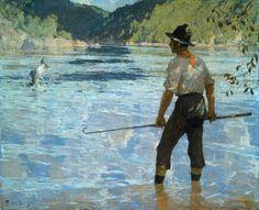 Salmon Fishing by Frank Weston Benson | Art Posters & Prints