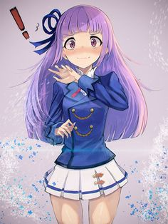 ! 1girl aikatsu! blazer blush hair_ribbon hikami_sumire long_hair nasuno_chiyo purple_hair ribbon school_uniform skirt solo standing violet_eyes