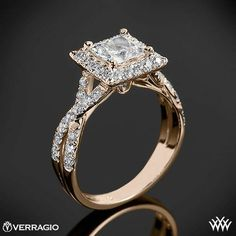 20k Rose Gold Verragio Square Halo Diamond Engagement Ring from the Verragio Couture Collection.