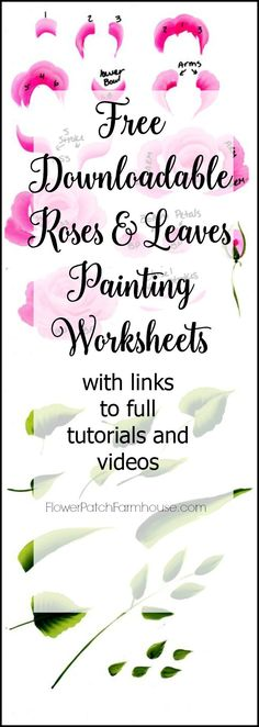 Free for download, printable rose and leaves worksheets. Learn to painting one stroke at a time. Great for DIY decor, crafts, paintings and more. Practice sheets help you improve your technique!