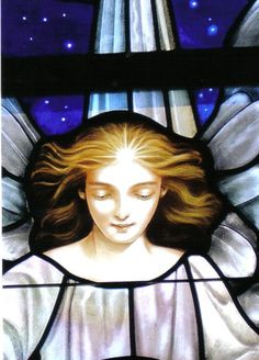 St. Marks Angel - detail from the Nativity window in St. Mark's Anglican church in Vero Beach, FL painted by Lyn Durham