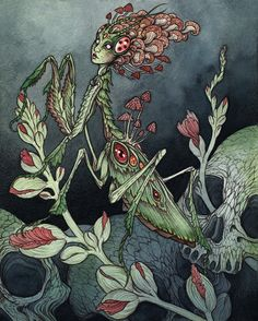 """my mantis woman """"The Gardener"""" is currently on display and for sale in the """"Verdant"""" show at Modern Eden gallery in SF. The show closes on the 7th, so check it out while you can! It's an amazing group of artists brought together around the theme of..."""