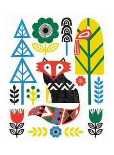 Folk Lodge Fox Teal Canvas Art - Michael Mullan x Michael Mullan, Folk Art, Scandinavian Folk Art, Illustration Art, Folk Design, Canvas Art, Teal Canvas Art, Fox Art, Folk