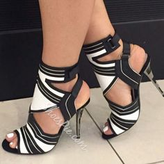 Shoespie Black & White Two Tone Cut Out Dress Sandals