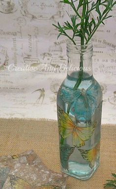 Butterfly Vase using paper napkins and decoupage paste