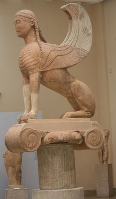 The Sphinx of Naxians atop its Ionic Capital, ca. 560 B.C., Delphi Archaeological Museum, Greece