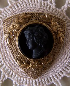 Antique Cameo Mourning Clip. Czech 1930s Brass Carved Jet Beautiful
