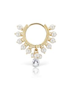 """5/16"""" Pearl Coronet Ring with Diamond Briolette (Helix) 