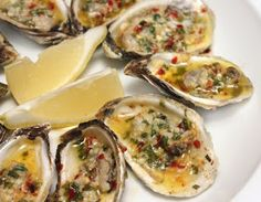 lOysters With Spicy Garlic Butter The Effective Pictures We Offer You About Shellfish Recipes new england A quality picture can Shellfish Recipes, Seafood Recipes, Wine Recipes, Great Recipes, Cooking Recipes, Bbq Oysters, Grilled Oysters, Seafood Dinner, Fish And Seafood