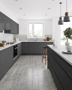 Grey Kitchen Floor, Modern Grey Kitchen, Grey Kitchen Designs, Kitchen Room Design, Grey Kitchens, Kitchen Cabinet Design, Modern Kitchen Design, Interior Design Kitchen, Small Modern Kitchens