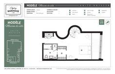 Plan de l'unité RDJ111A, projet de condominiums neufs en plein centre de Montréal Ogilvy Warehouse. 1428, Avenue Overdale, Montréal, QC H3G 2H1. 2/2