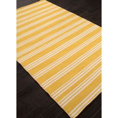 Flat Weave Stripe Pattern Yellow/ White Wool Area Rug (2'x3')   Overstock™ Shopping - Great Deals on JRCPL Accent Rugs