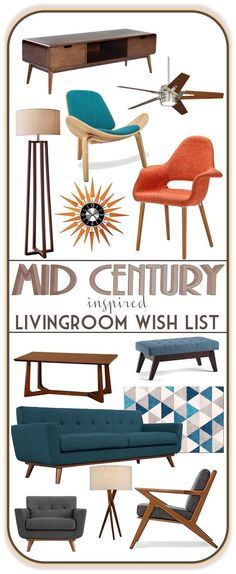 An Affordable Mid Century Inspired Living Room: Inspiration – MidMod Moodboard Monday Mid century modern inspired living room moodboard. More economical option to buying original mid century pieces – good place to start while I search for origin 1950s Living Room, Retro Living Rooms, Mid Century Modern Living Room, Mid Century Modern Decor, Mid Century Modern Furniture, Living Room Modern, Small Living, 1950s Bedroom, Interior Design Minimalist
