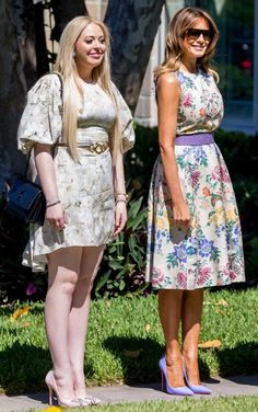 Two lovely ladies! FLOTUS Trump attends an Easter church service with her stepdaughter Tiffany in Palm Beach, Florida on April 🐣💐 Milania Trump Style, First Lady Of America, Ascot Ladies Day, Malania Trump, First Lady Melania Trump, Ivanka Trump, Classy Women, Black Silk, Pretty Dresses