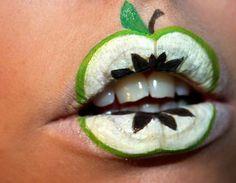 Apfel Lippen bemalen coole Idee Kindergeburtstag