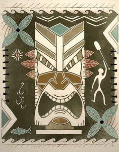 Tropical Tiki God Art Print