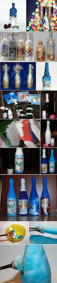 Декупаж бутылки шампанского своими руками на Новый год