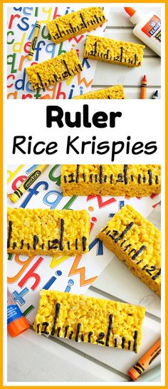Ruler Rice Krispies- Celebrate back to school season with this delicious no-bake after school snack idea- ruler Rice Krispies dessert recipe treat snack back-to-school homemade school-themed easy desserts Mini Desserts, Easy Desserts, Dessert Recipes, Fudge Recipes, Party Recipes, Rice Krispies, Rice Krispie Treats, School Treats, After School Snacks