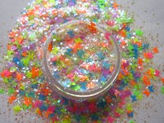 G471 NEW! Custom Nail Art Glitter Set Neon Butterfly Mixed Glitters - Solvent Resistant - Easy creative designs for your nails!