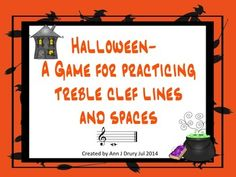 A game for your Music classroom.  Practice the absolute pitch names of the treble clef lines and spaces in this Halloween themed game.   This pack includes two versions of the same game:   Version One includes both middle C and D below and G above the stave.  Version Two uses only the notes located in the 5 lines and or 4 spaces.