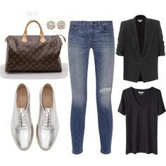 Silver Oxfords again... by cherie909 on Polyvore