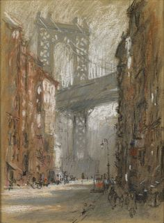 Manhattan Bridge from Henry Street (pastel) / by Colin Campbell Cooper