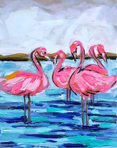 abstract flamingos, Pink Flamingo Canvas Painting pink navy aqua by DevinePaintings