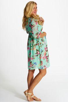 Mint-Green-Floral-Chiffon-Maternity-Dress