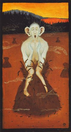 'Halla' Frost by Finnish Symbolist painter Hugo Simberg via museum syndicate Vintage Artwork, Memento Mori, Macabre, Art Google, Great Artists, Art Lessons, Art History, Creepy, Contemporary Art