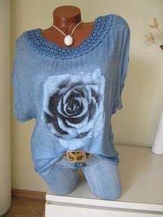Vokuhila Vintage Oversize Shirt Tunika Blume Häkel...