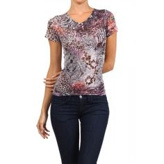 Burnout, printed, V-neck, capped sleeve, top.