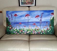 Large Canvas Poppies And Daisies By The Sea Stunning Surreal Scenic Home Decor Large Paintings For Sale, Surrealism Painting, Large Canvas, Real Beauty, Daisies, Handmade Crafts, Rainbow Colors, All The Colors, House Warming
