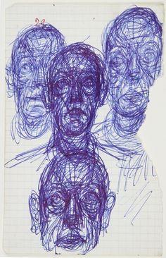 Alberto Giacometti - pen on paper Alberto Giacometti, Expressionist Portraits, Art Graphique, Drawing Techniques, Art Design, Art Sketchbook, Portrait Art, Figurative Art, Oeuvre D'art
