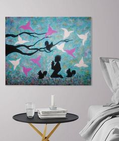 Nursery Wall Art Baby Animals Painting Original By Heavenly Scenery Art#  This Unique Painting Makes The Bedroom A Fun Place To Be ; Bright Shades U2026