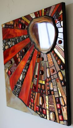 Mosaic Stained Glass Fused Glass Agate Abstract by GlassArtsStudio lots of mirror ideas inside and in garden Mosaic Artwork, Mirror Mosaic, Mosaic Wall, Mosaic Glass, Mosaic Tiles, Fused Glass, Mosaics, Glass Vase, Mosaic Crafts