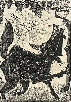 """from the portfolio, """"some well known fables"""" woodcut. Antonio Frasconi."""
