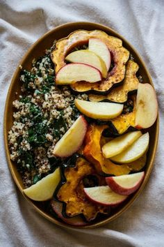 Roasted Acorn Squash and Apples with Quinoa, Kale, and Maple Tahini Dressing