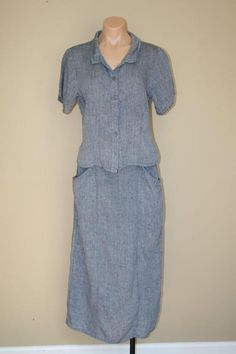FLAX 100% Linen 2pc Outfit Blue Flecked Long Maxi Skirt and Shirt Top Set size S #FLAX