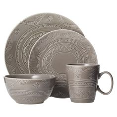 This Threshold Kennet 16 Piece Dinnerware Set - Charcoal Heather is TOO CUTE. perfect combo of items for that first apartment!