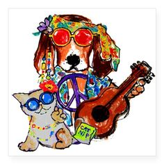 Cool Hippie Rockin Dog and Catnip Kitty Sticker on CafePress.com