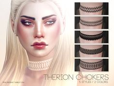 Lana CC Finds - Therion Chokers by Pralinesims