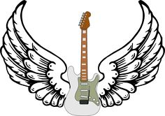 stratocaster guitar clipart | guitar with wings clip art