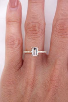 Emerald Diamond on Thin Pavé Band Emerald Diamond, Diamond Rings, Emerald Cut Engagement, Engagement Rings, Wedding Rings, Band, Elegant, Earrings, Jewelry